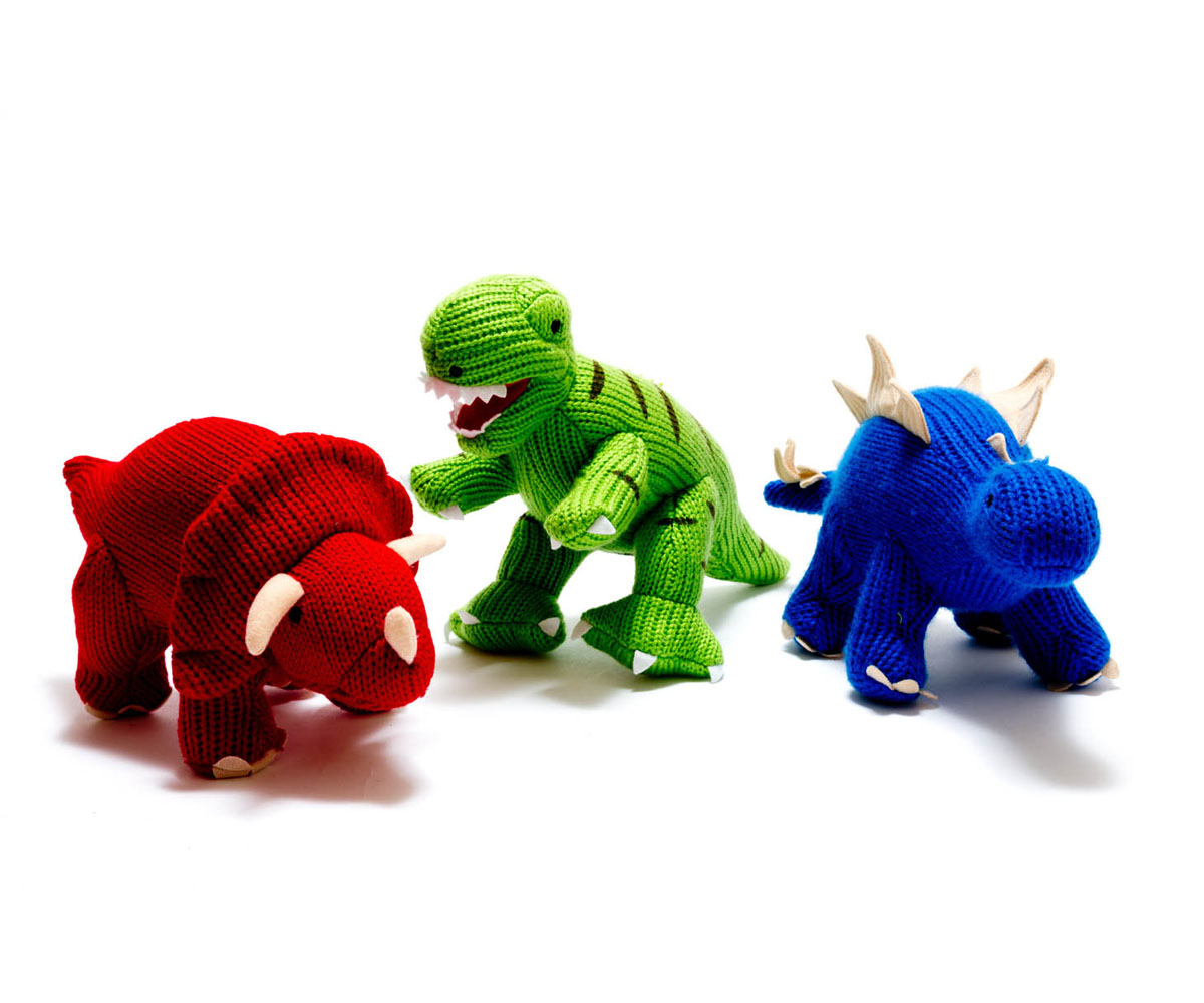 Mini Dinosaur Knitting Pattern : Magazzino Knitted Mini Triceratops Rattle - Magazzino